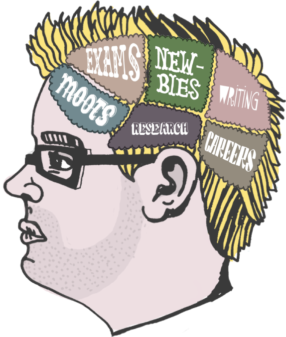 A head with brain sections cutaway and thought bubble
